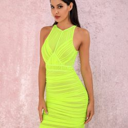 Womens Bright Green Party Dress