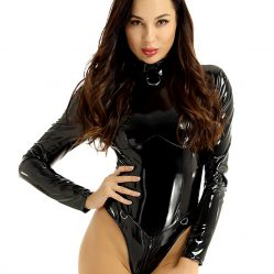 black patent leather catsuit